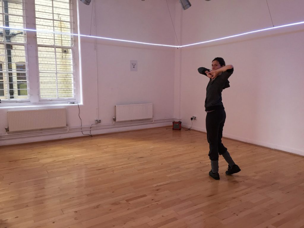 Performer Vicky Malin in installation Practicing Paradigm by Dinis Machado